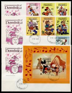 Dominica 644-53 on FDC 's Disney, Music, Mickey Mouse, IYC