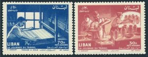 Lebanon C309-C310,MNH.Michel 718-719. Labor Day 1961.Pottery workers,Weaver.