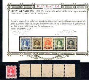 1934 Vaticanovatikan City Provisional 6 Val N°35/40 Centered Cert Ray MNH