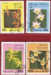 LAOS STAMPS SC# 1322+1324+1326+1327  *CTO* 1997   FLOWERS  SEE SCAN