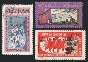 Viet Nam 347-349,CTO.Michel 366-368. Trade Union Conference,1965.Naval Battle.