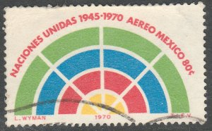 MEXICO C376, 25th Anniversary of the United Nations Org. USED VF. (1274)