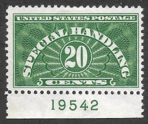 Doyle's_Stamps: 1955 MH Special Handling 20c Plate Single, Scott #QE3*