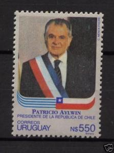 Chile President Patricio Aylwin & country flag URUGUAY Sc#1415 MNH STAMP