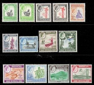 Rhodesia Nyasaland 1959 QEII p/set (13v. inc coils) mint