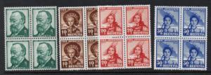 Switzerland Sc B106-9 1940 Pro Juventute stamp set mint Blocks of 4