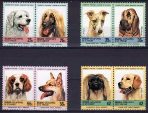 Bequia St.Vincent Grenadines 1985 Sc#178/181 DOGS 4 Pairs Perforated MNH