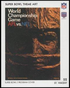 ST. VINCENT 1991. SCOTT # 1425. SOUVENIR SHEET. SUPER BOWL XXV PROGRAM COVER.