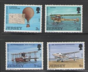 Jersey Sc 81-4 1973 Aviation History stamps NH