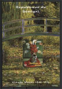 SENEGAL, SOUVENIR SHEET CLAUDE MONET 2002, MNH