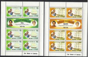 Nevis #135-40 mint mini sheets, royal wedding