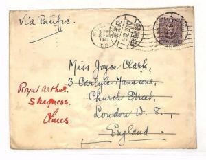 AC183 CHINA WW2 NAVAL MAIL1941 Forwarded Notting Hill *HMS ROYAL ARTHUR*Skegness