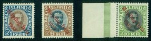 ICELAND #C12-14 (165-7) Complete HOPFLUG Ovpt set, NH, Kaiser & Pollak certs
