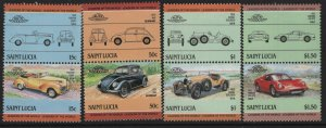 ST. LUCIA, 739-742, 4 pairs, HINGED,1983 Automobile type