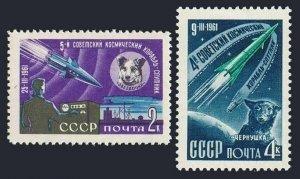 Russia 2491-2492 blocks/4,MNH.Michel 2497-2498. Space 1961.Sputniks.Dogs.