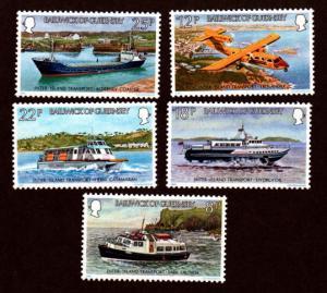 Guernsey MNH 227-31 Transportation Boats & Planes 1981