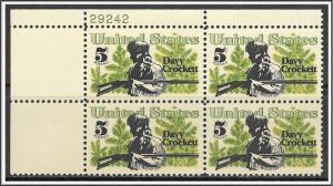 US Plate Block #1330 Davy Crockett MNH