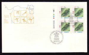 Canada-Sc#1198-stamps on FDC-LL Plate Block-Sports-Winter Olympics-Bobsled-1988-