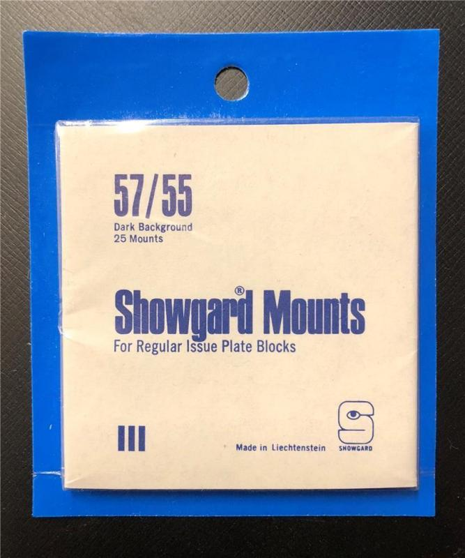 Stamp Mounts Supplies Showgard New 40 mounts 57mm by 55mm Black back Precut