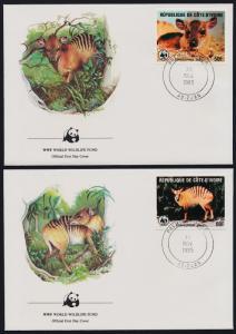 Ivory Coast 764-7 on FDC's - WWF, Striped Antelopes
