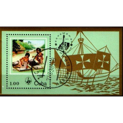 CUBA Sc# 2779  ESPAMER Natives SOUVENIR SHEET  1985  used / cancelled