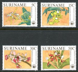 Suriname 743-746 orchid flowers wwf  MNH mint      (Inv 001314.)
