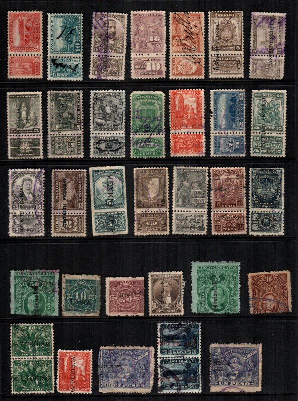 Mexico  32  used revenue stamps