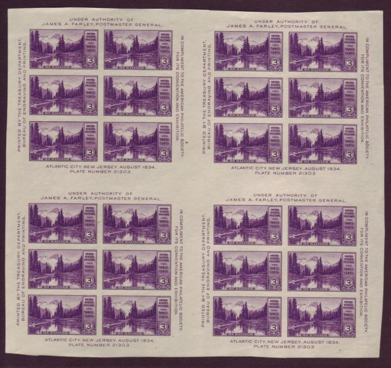 770  MNH, 3c. MT. Rainer Farley Crossed Gutter Block of 24,