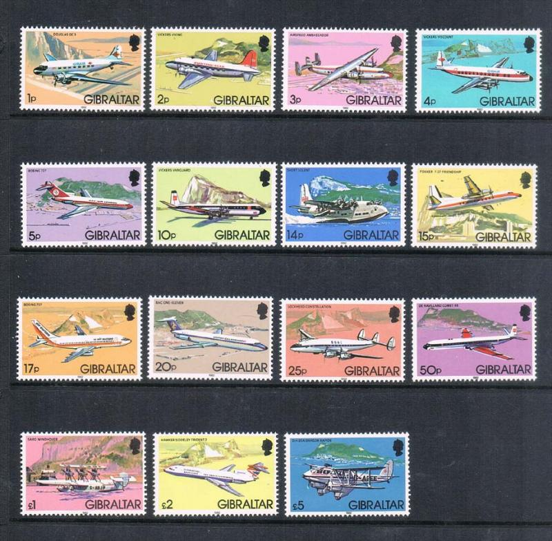 Gibraltar 1982  Aircraft SG 460-474 Or Sc 416-430 set of 15 MNH