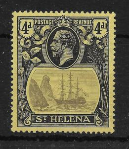 ST.HELENA SG92b 1922 4d GREY & BLACK ON YELLOW TORN FLAG VAR MTD MINT