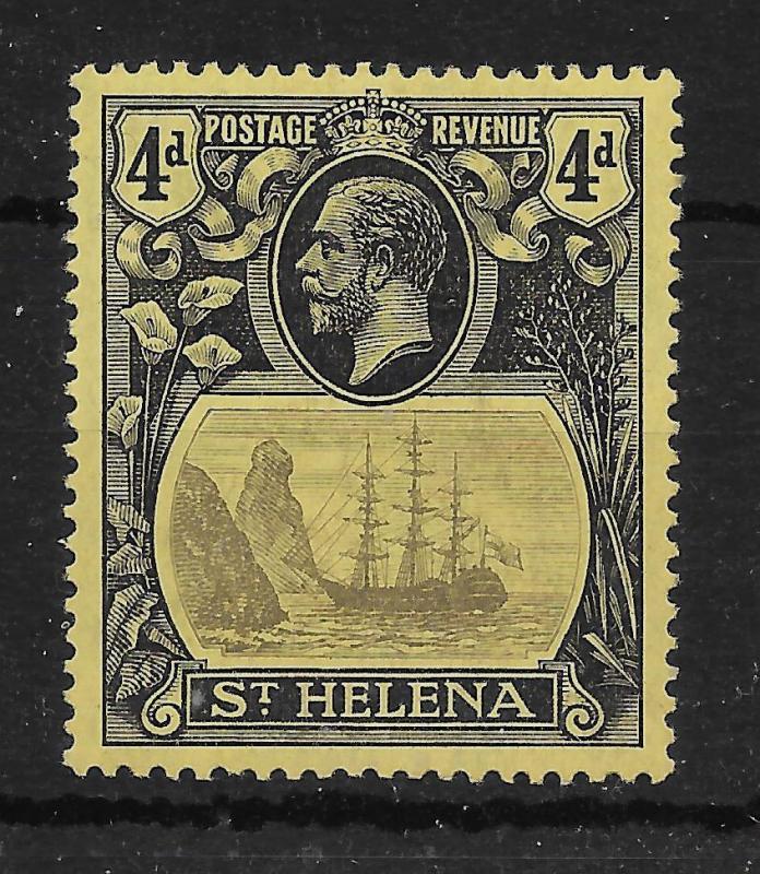 ST.HELENA SG92b 1922 4d GREY & BLACK ON YELLOW TORN FLAG VAR MTD MINT