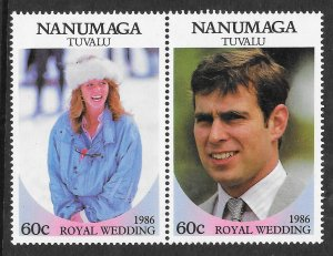 Tuvalu - Nanumaga 71-2 Royal Wedding VF MNH