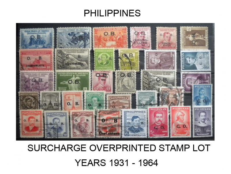 PHILIPPINES OVERPRINTED SURCHARGE STAMP LOT YEARS 1931 - 1964. HARD TO FIND