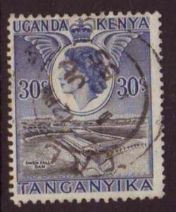 Uganda Kenya Tanganyika 1954 SG#171 30c Blue QEII Owen Dam