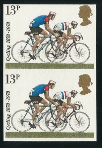 Stamp Error - 1978 Cycling 13p IMPERF PAIR - Fine unmounted mint