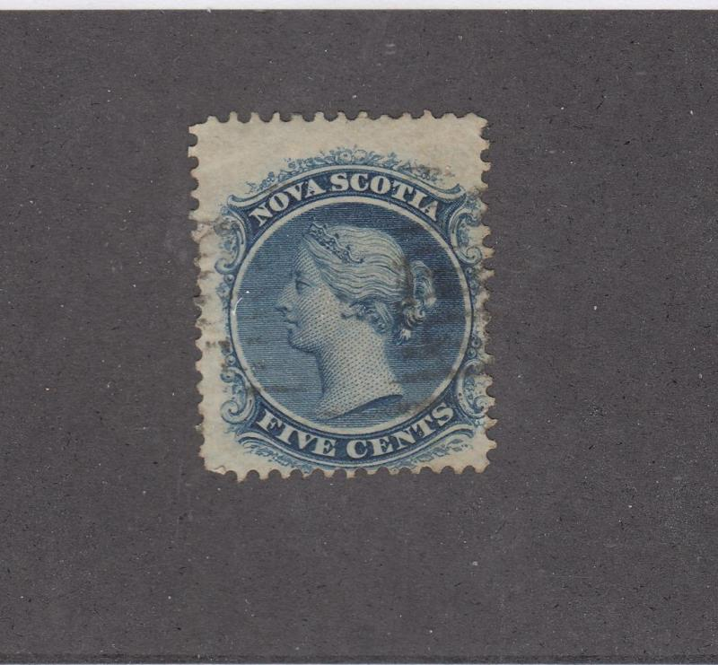 NOVA SCOTIA REF# KM18 # 10  FVF 5cts QUEEN VICTORIA BLUE W CANCEL CAT VALUE $15