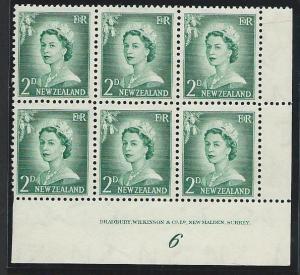 NEW ZEALAND 1955 2d large figures plate block # 6 mint....................50888