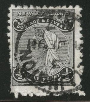 New Zealand Scott 67A used 1891short perfs at left