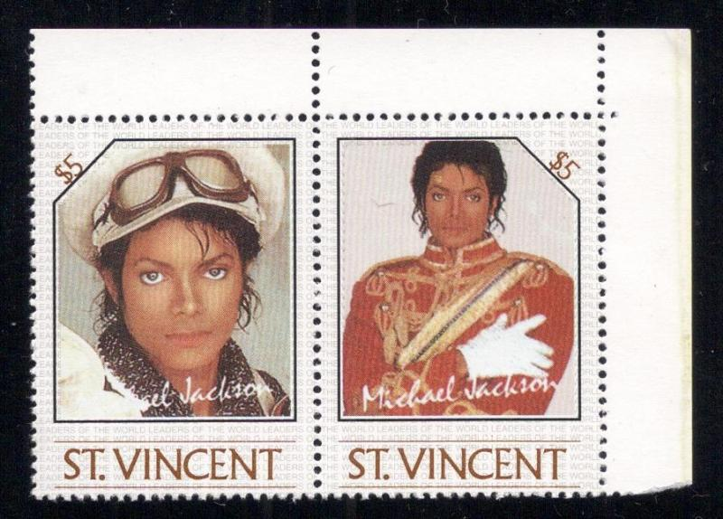 Michael Jackson - (2) $5.00 St. Vincent - Unused -O.G.-N.H.