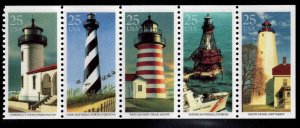 USA Scott 2470-2474a MNH** Lighthouse strip from booklet slight gum disurbance