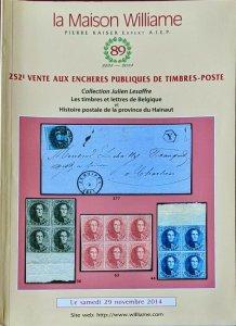 Auction Catalogue Belgique Histoire Postale HAINAUT Belgium Julien Lesaffre
