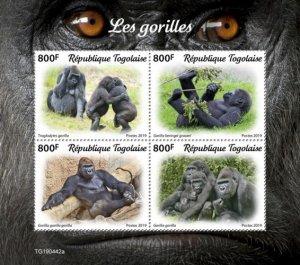 TOGO - 2019 - Gorillas - Perf 4v Sheet  - M N H