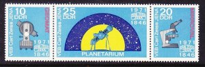 Germany DDR 1338a MNH 1971 Microscope - Planetarium Carl Zeiss Optical Strip 3