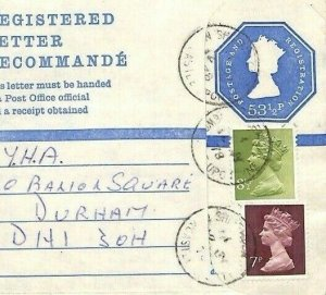 GB MACHIN Cover NORTHUMBS *Shiremoor* Registered Stationery {samwells}AN204