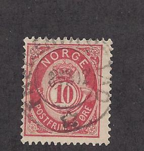 Norway, 40, Post Horn Single,**Used**#2