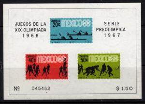MEXICO Sc.#983A 1968  OLYMPICS SOUVENIR SHEET  (234A)