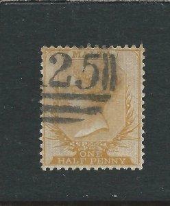 MALTA 1863-81 ½d DULL ORANGE FU SG 7 CAT £90