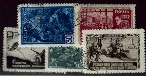 Russia SC#867-870, 872 Used F-VF hr...Worth a close look!!