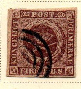 Denmark Sc 2 1851 4 Rs brown Royal Emblems stamp used
