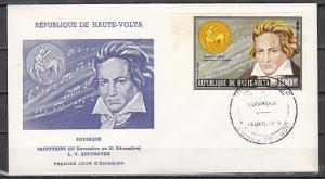 Burkina Faso, Scott cat. 319. Composer Beethoven, IMPERF issue. First Day.